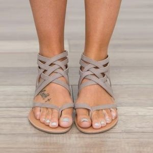 Gray Strappy Gladiator Sandals